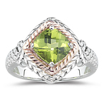 1.43 Ct 6mm AAA Cushion Checkered Board Peridot Ring-Pink Gold & Silver