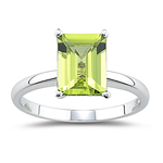 1.78 Cts of 9x7 mm AA Emerald Peridot Solitaire Ring in 14K White Gold
