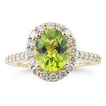 0.87 Cts Diamond & 2.30 Cts AAA Peridot Ring in 14K Yellow Gold