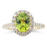 0.87 Cts Diamond & 2.30 Cts AAA Peridot Ring in 14K Yellow Gold