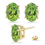 2.25-2.65 Ct 8x6 mm AA Oval Peridot Stud Earrings in 14K Yellow Gold