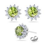 0.48 Cts Diamond & 1.11 Cts Peridot Earrings in Platinum