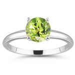 2.88 Cts of 9 mm AAA Round Peridot Solitaire Ring in 14K White Gold