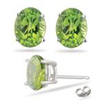 3.33 Cts Peridot Stud Earrings in Platinum