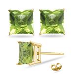 2.00-2.50 Cts Peridot Stud Earrings in 14K Yellow Gold