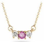 4 mm Pink Sapphire & 1/4 Cts Diamond Pendant in 18K Yellow Gold