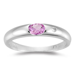 0.01 Diamond & 0.21 Cts AAA Pink Sapphire Ring in 14K White Gold