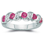 0.16 Cts Diamond & 1.00 Ct Pink Sapphire Ring in 14K White Gold