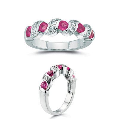 1aa1c6911f870 0.16 Cts Diamond & 1.00 Ct Pink Sapphire Ring in 14K White Gold