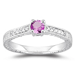 0.08 Ct Diamond & 0.33 Ct 4 mm AA Round Pink Sapphire Ring - 14KW Gold