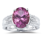 0.02 Cts Diamond & 4.50 Cts Pink Topaz Ring in 14K White Gold