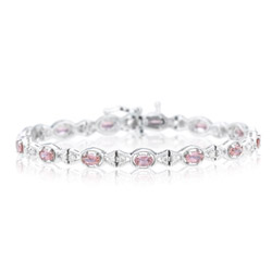 0.39 Cts Diamond & 3.01 Cts Pink Tourmaline Bracelet in 14K White Gold