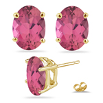 1.55-1.75 Ct 7x5 mm AA Oval Pink Tourmaline Studs in 14K Yellow Gold