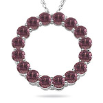 4.00 Cts Pink Tourmaline Circle Pendant in 14K White Gold