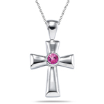 0.10 Cts Pink Tourmaline Cross Pendant in Silver