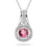 0.33 Ct Diamond & 0.90 Cts Pink Tourmaline Pendant in 14K White Gold