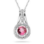 0.33 Ct Diamond & 0.90 Cts Pink Tourmaline Pendant in 14K White Gold
