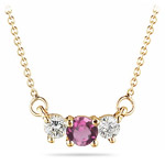 0.23 Ct Diamond & 0.29 Cts Pink Tourmaline Necklace in 18K Yellow Gold