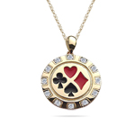 0.20-0.25 Cts  SI2 - I1 clarity and I-J color Diamond Men's Poker Chip Enameled Pendant in 14K Yellow Gold