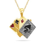 0.1-0.2 Cts  SI2 - I1 clarity and I-J color Diamond Poker Cards Pendant in 14K Yellow Gold