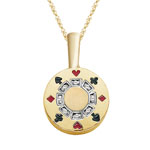 0.03-0.4 Cts  SI2 - I1 clarity and I-J color Diamond Poker Chip Pendant in 14K Yellow Gold