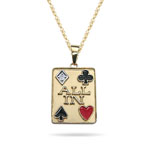 0.02 Cts Diamond Poker Pendant in 14K Yellow Gold