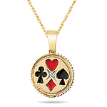 0.01 Cts Diamond Solitaire Poker Pendant in 14K Yellow Gold
