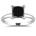 2.00 Cts of 6.20-6.40 mm AA Princess Black Diamond Ring in 14K White Gold