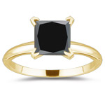 1.00 Ct of 4.55-7.20 mm princess AAA Black Diamond Solitaire Ring in 14K Yellow Gold