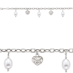 Pearl Heart Charm Bracelet in 14K White Gold