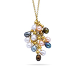Multi-Color Pearl Cluster Necklace in 14K Yellow Gold