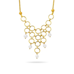 Fancy Pearl Necklace in 14K Yellow Gold