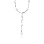 White Pearls By The Yard Link Necklace in 14K White Gold.