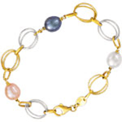 Multi-Color Pearl Fancy Bracelet in 14K Two Tone Gold