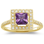 0.23 Cts Diamond & 0.75 Cts Purple Sapphire Ring in 14K Yellow Gold