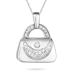 0.30 Cts VS Diamond Purse Pendant in 14K White Gold