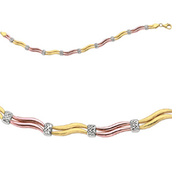 Tri Color Fancy Wave Bracelet in 14K Three Tone Gold