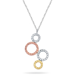 Diamond-Cut Circle Pendant in 14K Three Tone Gold