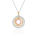 Diamond-Cut Geometric Circle Pendant in 14K Three Tone Gold
