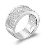Clear Cubic Zircon Bling Ring in Sterling Silver