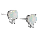 0.06 Cts Diamond & 0.86 Cts of 5 mm AA Round Opal Earrings in 18K White Gold