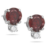 0.06 Cts Diamond & 2.28 Cts AA Round Red Zircon Earrings in 18K White Gold - Christmas Sale