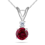 0.03 Cts Diamond & 0.59 Cts Ruby Pendant in 18K White Gold