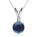 0.03 Cts Diamond & 0.59 Cts Blue Sapphire Pendant in 18K White Gold