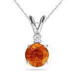 Mandarin Pendant - Diamond & Mandarin Garnet Pendant in 18K White Gold