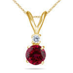 0.03 Cts Diamond & 0.59 Cts Ruby Pendant in 18K Yellow Gold