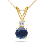 0.03 Cts Diamond & 0.59 Cts Blue Sapphire Pendant in 18K Yellow Gold