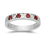 0.42 Cts Red & White Diamond Wedding Ring in 14K White Gold
