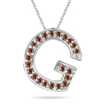 0.27 Cts Red Diamond G Initial Pendant in 14K White Gold