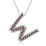 1/4 Cts Red Diamond W Initial Pendant in 14K White Gold